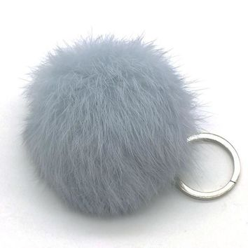 Zoeber Lovely Fluffy Rabbit Ear Fur Anime Ball Key Chain Rings Pendant Cute Pompom Artificial Rabbit