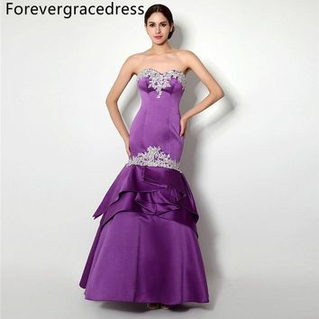 Forevergracedress Sexy Purple Prom Dress Mermaid Sweetheart Applique Backless Long Formal Party Gown Plus Size Custom Made