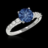 0.75 ct. GENUINE blue diamond anniversary ring Gold new
