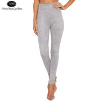 Women's High Waist Suede Pant Solid Side Zipper Full Long Good Elasticity Autumn Winter Spring Skinny Pants Plus Size S-L New