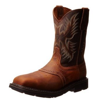 Ariat Men's Sierra Aged Bark Brown Square Steel Toe Leather Work Boots 10010134