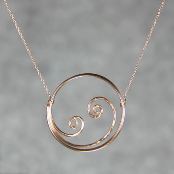 14k rose gold filled Textured hammered ocean wave scroll circle pendant necklace Bridesmaids gifts Free US Shipping handmade Anni Designs
