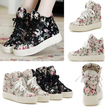 Fashion Girls Floral Boots High Heels Platform Canvas Joker Shoes US 6-8 = 1946589700