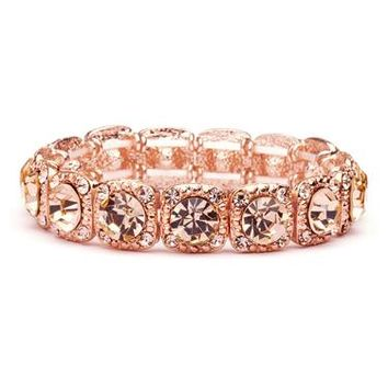 Rose-Gold Coral Color Bridal or Prom Stretch Bracelet with Crystals 532B-RG