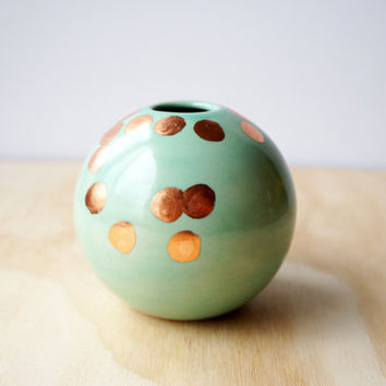 mint and copper ball vase or vessel