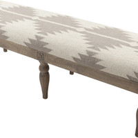 Diamond Aztec Gray Upholstered Bench