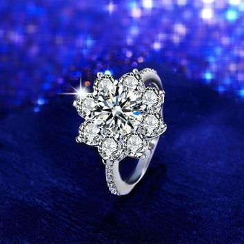 Silver Color Crystal Zircon Bridal Engagement Rings