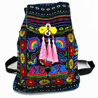 Tribal Vintage Hmong Thai Indian Ethnic Boho rucksack Boho hippie ethnic bag, backpack bag L size SYS-170B