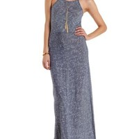 Navy Combo Racer Front Micro-Striped Maxi Dress by Charlotte Russe