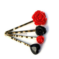 FREE SHIPPING. Black Heart Bobby Pins. Flower Bobby Pins. Red and Black. Gothic Hair Accessories.