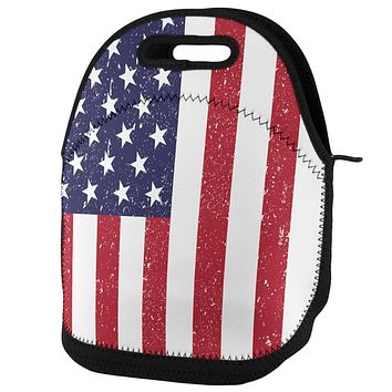 4th of July American Flag Distressed Lunch Tote Bag