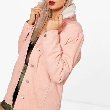 Ruby Long Lined Borg Collar Denim Jacket | Boohoo