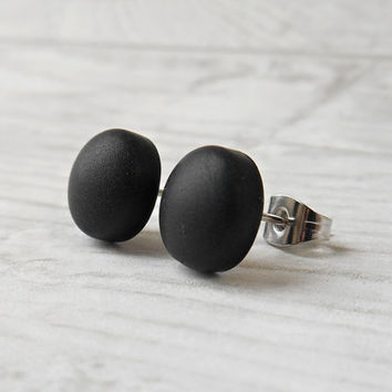 Small Black Stud Earrings For Men, Monochrome Jewelry, Minimalist Earrings, Black Post Earrings - BK251