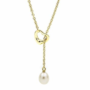 Tiffany & Co. Elsa Peretti Open Heart Lariat Necklace with Pearl in 18k Gold