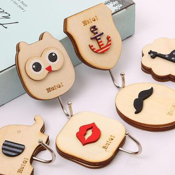 ICIK272 1 pcs Cute animal Owl wooden hook cabinet door free nail Multi-functional Clothing Hanger Sundry Hanging Hooks Free Shipping