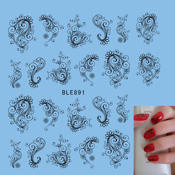 1X Hot Designs Fancy Beauty Flower Vine Nail Sticker for Gel Polish Manicure Tips Nail Art Water Transfer Decals Tools BLE891