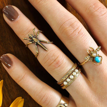 Unique Midi Cuff Ring, Handmade 14k Yellow Gold & Diamond Insect Bug, Adjustable Size, Recycled Gold, Bohemian Jewelry Stacking Pinky Ring