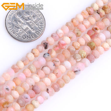 Gem-inside AAA Natural Heishi Rondelle Disc Spacer Pink Opal Beads For Jewelry Making Strand 15inches DIY Jewellery