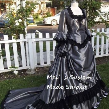18th century Gothic Victorian Steampunk Bustle Gown /Wedding Party Costume/Holiday Dress/Ball Gown
