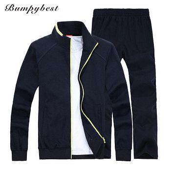Spring Autumn Men Sporting Suit Set Jacket Pant Sweatsuit 2 Piece Set Sportswear Tracksuit Male Set Clothing