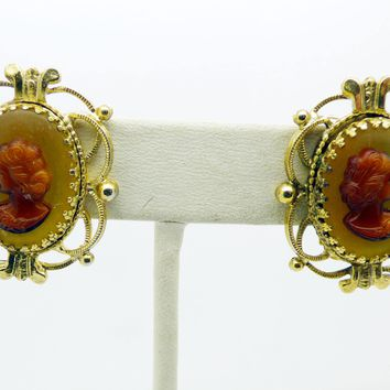Whiting and Davis Glass Cameo Clip Earrings