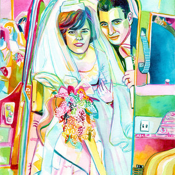 COMMISSION WEDDING PORTRAIT for original wedding anniversary gift