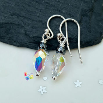 Crystal Drop Earrings, Christmas Fairy Lights, Sterling Silver, Crystal Jewellery, Gift for Her, Crystal Earrings, Holiday