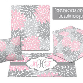 BABY NURSERY DECOR, Flower Burst Pink Gray Blanket,Ottoman Pouf, Zipper Throw Pillow, Baby Monogram, Matching Nursery Bedding, Nursery Rug