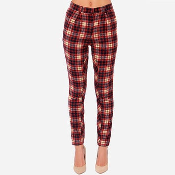 Plaid Slim Pencil  Pants