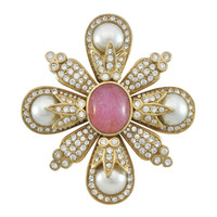 Ciner Pink Cabochon Pearl Brooch | SOPHIESCLOSET.COM | Designer Jewelry & Accessories