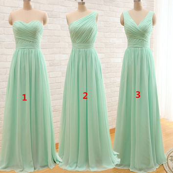 New Arrival Three Styles A Line Mint Green Long Chiffon A Line Pleated Bridesmaid Dress 2016 Under 50