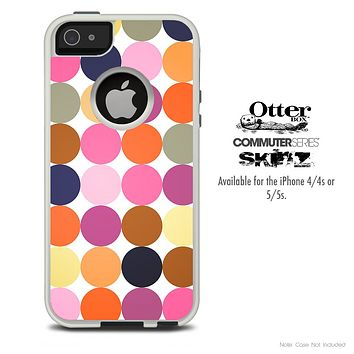 The Large Colored Polka Dotted Skin For The iPhone 4-4s or 5-5s Otterbox Commuter Case