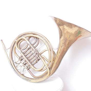 Antique Large Brass Parisian French Horn or Corno Instrument with Rotary Valves by R N White Co