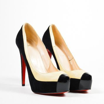 DCCK2 Black and Nude Christian Louboutin Leather Suede Mago Platform Pumps
