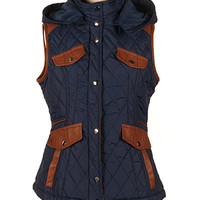 Navy Pocket Hooded Quilted Vest