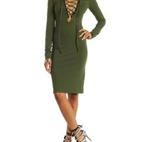 Olive Lace-Up Long Sleeve Bodycon Dress by Charlotte Russe