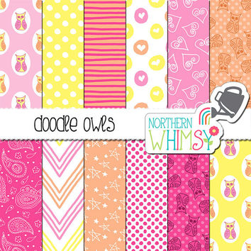 Baby Girl Digital Paper - owl scrapbook papers with hand drawn seamless doodle patterns in pink, peach, and yellow - commercial use