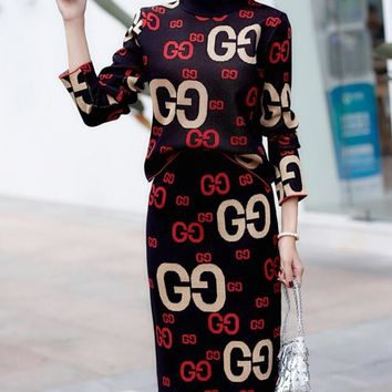 GUCCI Fashion Women Casual Jacquard Letter Half High Collar Knit Long Sleeve Sweater Top Skirt Set Two-Piece Black