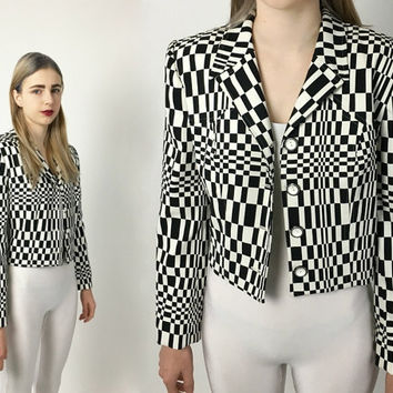 Vintage 90s do 60s White Black Checkered OP ART Avant Garde Blazer Jacket Crop Top Shirt S M