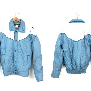 Ski Jacket Puffy Coat Retro 70s Blue Puffer Jacket Winter Color Block Hipster 1970s Vest Coat ZIP OFF Sleeves Vintage Puff Puffa Coat XS S