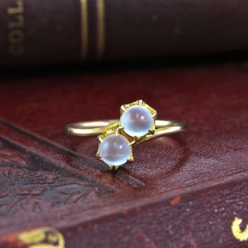 Victorian Moonstone Toi et Moi Ring, 10k Antique Moonstone Orb Bypass Style, Claw Set Ball, Rose Gold Pink Gold Stacking Ring