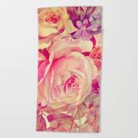 soft vintage roses Beach Towel by clemm