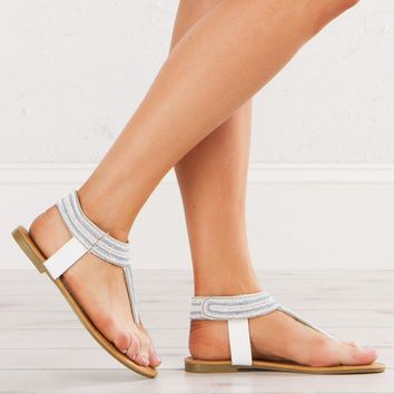 Flat Sandals in White and Blue