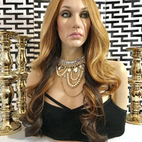 Gina Ombre Blond HH Blend Lace Front Wig 4 J LO HAIRSTYLE
