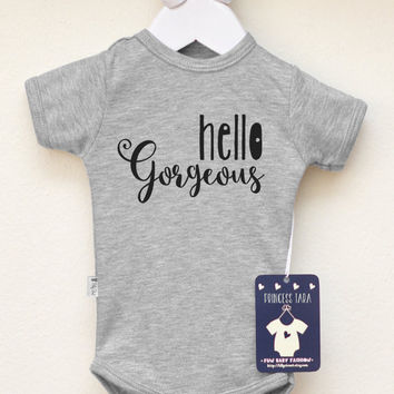 Cute Baby Boy Clothes. Hello Gorgeous Baby Boy Bodysuit. Hipster Baby Clothes. Modern Baby Boy Outfit.