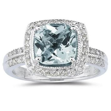 2.50 Carat Cushion Cut Aquamarine & Diamond Ring in 14K White Gold