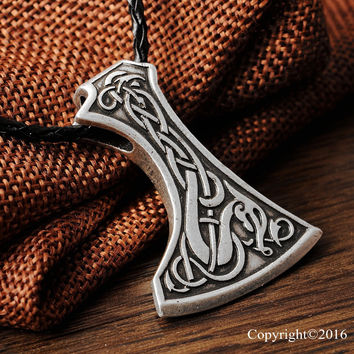 1pcs Legendary Viking Mammen Axe Amulet Pendant Necklace Mammen Style Large Axe Sekira Viking Nordic Talisman Pendant Necklace
