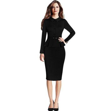 DCCKON3 Women elegant vintage peplum lapel wear work  formal pencil Sheath Dress