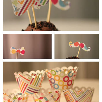 Mustache and Bow Tie Cupcake Topper with matching Cupcake Wrapper