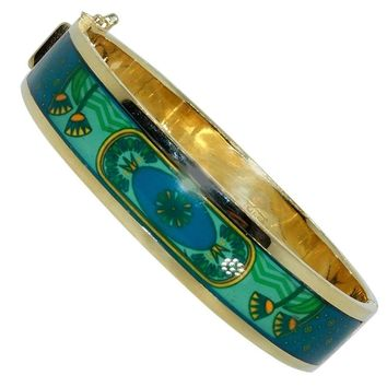 Enamel Gold Bangle Bracelet